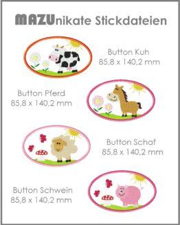 Button Applikation Stickdatei Bauernhoftiere
