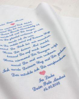 Besticktes Tuch mit Spruch für das Patenkind von der Taufpatin oder des Taufpaten