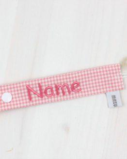 Personalisiertes Schnullerband mit dem Namen Ihres Kindes, rosa/weiß kariert