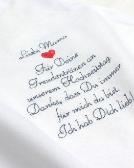 Besticktes Taschentuch zur Hochzeit für Freudentränen für die Brautmutter, den Brautvater, Bräutigammutter, Bräutigamvater, Oma, Opa oder einen anderen lieben Menschen, den Sie beschenken möchten