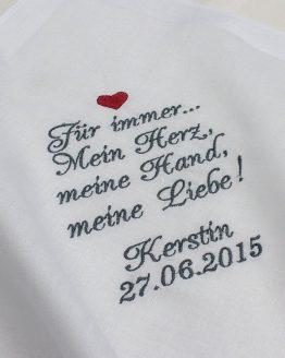 Besticktes Taschentuch zur Hochzeit für Freudentränen für den Bräutigam oder die Braut