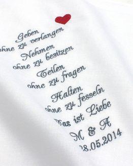 Besticktes Taschentuch für Freudentränen von Braut und Bräutigam