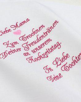 Besticktes Stofftaschentuch zur Hochzeit für Freudentränen