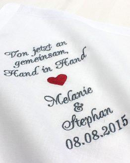 Besticktes Taschentuch zur Hochzeit für Freudentränen Brautpaar, Bräutigam und Braut