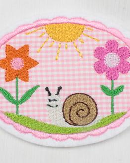 Bügelbild mit Schnecke, Blumen, Sonne, Aufnäher, Aufbügler, Flicken