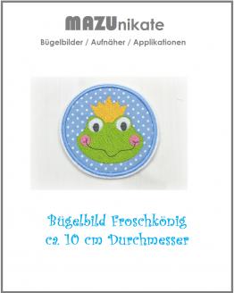 Froschkönig, Aufnäher, Flicken, Bügelbild