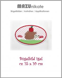 Bügelbild Igel mit Apfel, Aufnäher, Applikation, Fliecken, Aufbügler