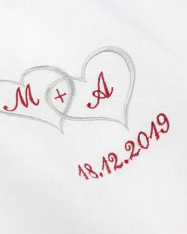 Taschentuch für Freudentränen bestickt zur Hochzeit für Braut und Bräutigam