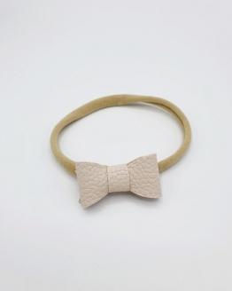 Nylon haarbandje met crème PU lederen strikje
