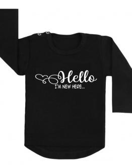 hello new here shirt zwart