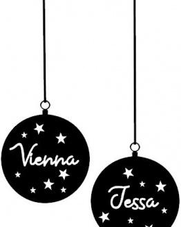 raamsticker kerstballen naam