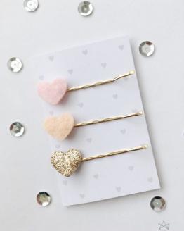 Setje haarspeldjes hartjes roze, perzik en goud