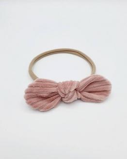 Haarband roze corduroy strik