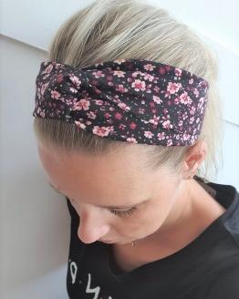 Mama twist haarband black flowers