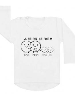 Shirt zwangerschapsaankondiging over the moon. Om de zwangerschap van een tweeling door grote broer of zus bekend te laten maken!