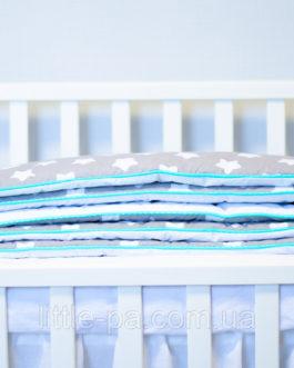 Бортики для новорожденных хлопковые «Звезды с мятой»
