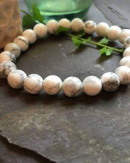 White Howlite Stone Bead Bracelet