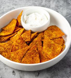 Vegan nacho cheese doritos chip made with homemade vegan spice blend