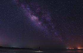 Milky Way on the night sky above Island Holbox