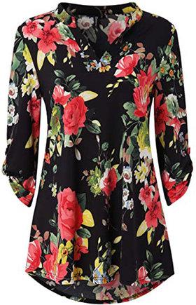 Zattcas Floral Printed Tunic Shirts | 40plusstyle.com