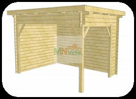 Porche de Madera Rico2 Vista Frontal Techo Plano MNVEEK