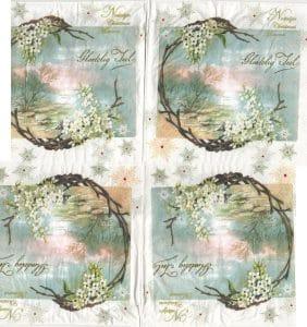 Serviette papier fleurs blanches
