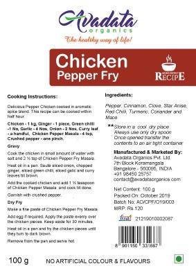 Buy Avadata Organics - Chicken Pepper Fry Mix - 100g Online