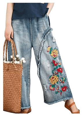 pantalones bordados