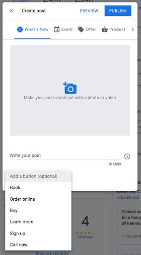 Example of Google My Business post creation window | Kanuka Digital