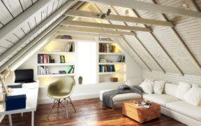 Nach einem Dachbodenausbau kann das Dachgeschoss einiges hermachen