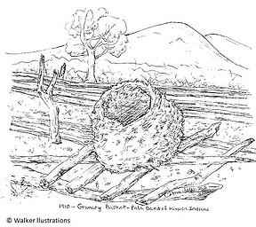 Sketch of granary basket raised above ground