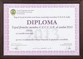 Diplomă - Topul național al celor mai bune societăți membre CECCAR al anului 2013