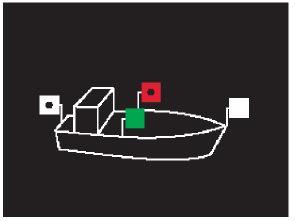 Positionslichter eines Motorbootes als Kleinfahrzeug, Variante 1