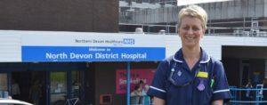 Admiral Nurse outside north devon hospital