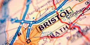 Road map showing Bristol