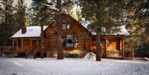 Schneebedecktes Blockhause steht zwischen Bäumen im Wald