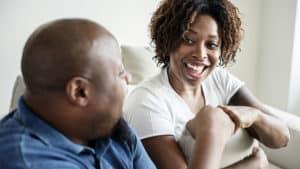 happy couple talking giving feedback
