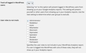 Eingeloggte Benutzer nicht in Google Analytics erfassen