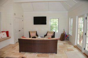 Mt Kisco NY pool house interior with radiant floor heating