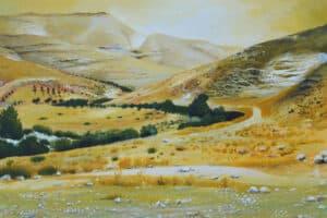 Taqi Sabateen, Wadi Al Nar II, 2015, acrylic on canvas, 101 x 104 cm
