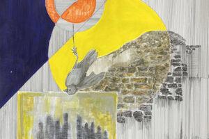 Yazan Abu Salameh, Sun Bird (2021), ink and acrylic on paper, 110 x 75 cm