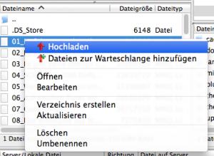 Datei hochladen in Filezilla