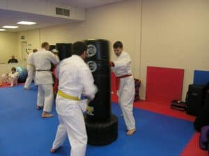Hitting the bags in Basingstoke Martial Arts