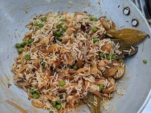 Mushroom Rice ready to pressure cook