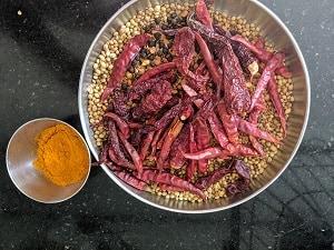 Roasted ingredients for sambar powder recipe