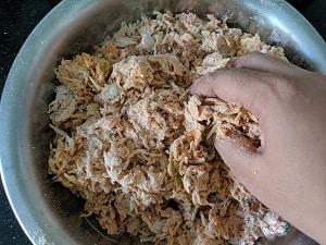 Kneading the dough for lauki thepla