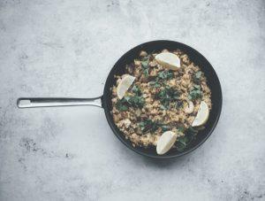 food on a pan