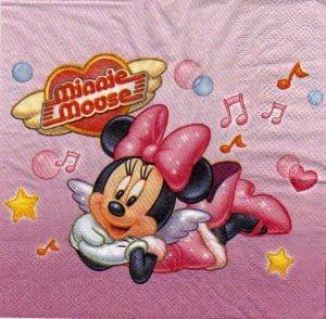 Serviette papier Minnie et music 33 cm x 33 cm 2 plis
