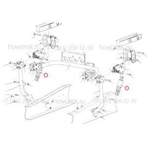 Схема монтажа - Амортизатор кабины задний DZ13241440100 арт. DZ1640440015 для китайских грузовых автомобилей Shacman