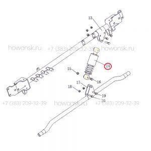 Схема монтажа- Амортизатор кабины поперечный арт. 81.41722.6036 для китайских большегрузов Shacman